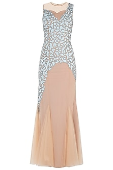 Nude Fish Cut Embroidered Gown by Trish by Trisha Datwani