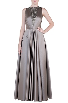 Brownish Grey Embroidered Gown by Trish by Trisha Datwani