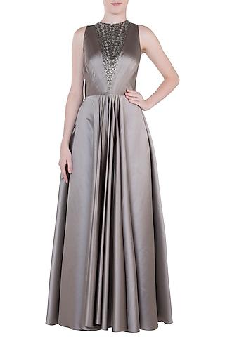Brownish Grey Embroidered Gown by Trish by Trisha Datwani