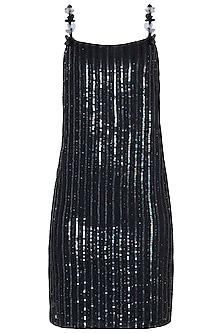 Black Embroidered Spaghetti Dress by Trish by Trisha Datwani