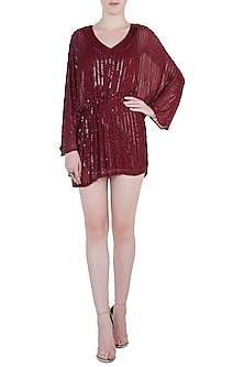 Maroon Embroidered Dress by Trish by Trisha Datwani