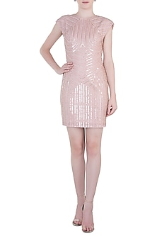 Light Pink Embroidered Dress by Trish by Trisha Datwani