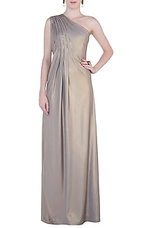 Greyish Gold Embroidered Gown by Trish by Trisha Datwani
