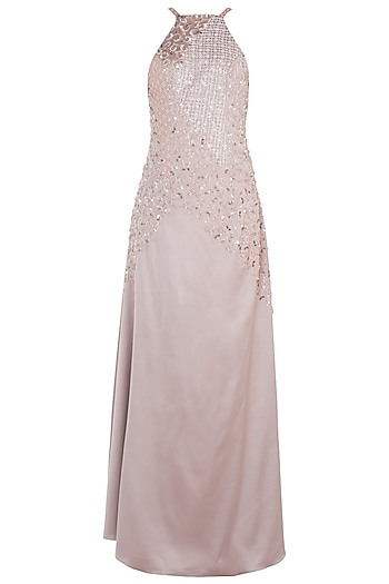 Rose Gold Embroidered Gown by Trish by Trisha Datwani
