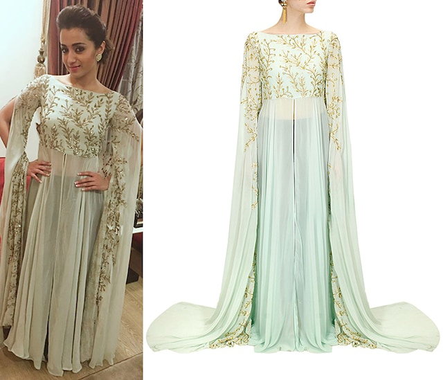Powder blue embroidered cape hands gown by Prathyusha Garimella