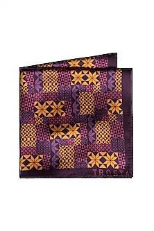 Purple Printed Pocket Square by Trosta