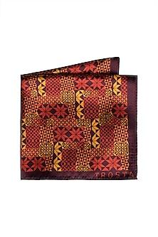 Red Printed Pocket Square by Trosta
