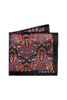 Black Printed Pocket Square by Trosta
