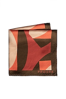 Red & Brown Printed Pocket Square by Trosta