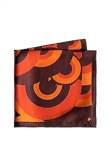 Orange Circle Printed Pocket Square by Trosta