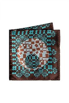 Brown & Blue Printed Pocket Square by Trosta