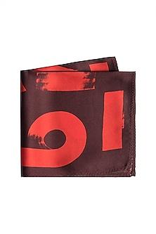 Red Geometric Printed Pocket Square by Trosta