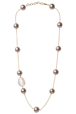 Gold Plated Copper Rose Pearls String Necklace by Tarusa
