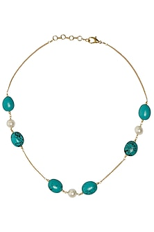 Gold Plated String Turquiose and Semi Precious Stones Necklace by Tarusa