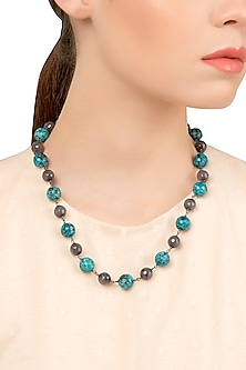 Silver Plated Gray and Turquoise Pearls Necklace by Tarusa