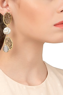 Gold Plated Black and White Semi Precious and Pearl Earrings by Tarusa