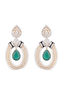 White & Gold Finish Cubic Zirconia, Pearl & Cut Emerald Earrings by Tsara