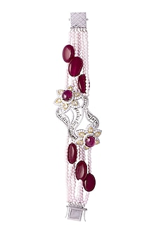 White & Gold Finish Cubic Zirconia, Ruby & Pearl Bracelet by Tsara