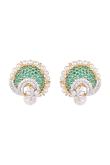 White & Gold Finish Cubic Zirconia, Green CZ & Pearl Stud Earrings by Tsara