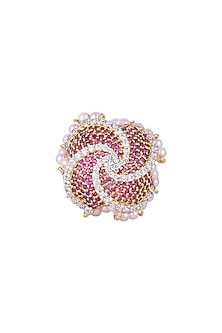 White & Gold Finish Cubic Zirconia, Ruby & Pearl Ring by Tsara