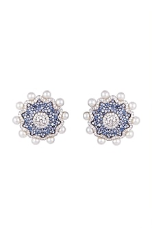 White & Gold Finish Cubic Zirconia, Blue CZ & Pearl Stud Earrings by Tsara