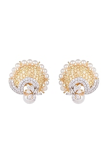 White & Gold Finish Cubic Zirconia, Yellow CZ & Pearl Earrings by Tsara