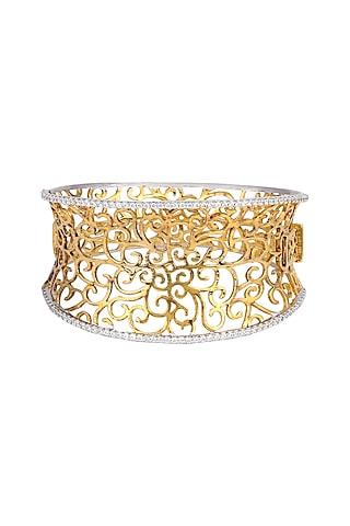 White Finish & Gold Finish Zirconia Bracelet by Tsara