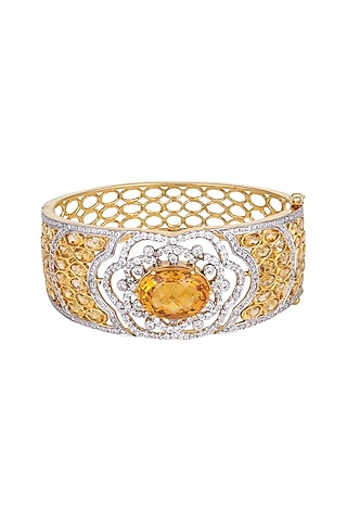 White Finish & Gold Finish Citrine Bracelet by Tsara