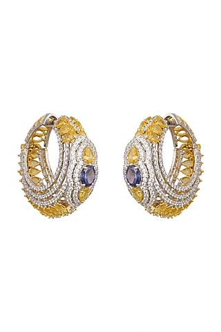 White Finish & Gold Finish Tanzinities Earrings by Tsara