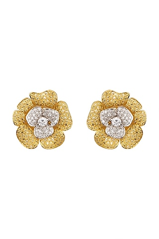 White Finish & Gold Finish Dangler Earrings by Tsara