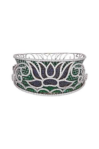White Finish & Black Rhodium Finish Emerald Bracelet by Tsara