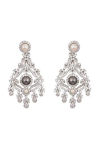 White Finish Pearl Earrings by Tsara