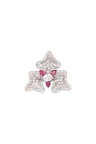 White Finish Hydro Ruby Earrings by Tsara
