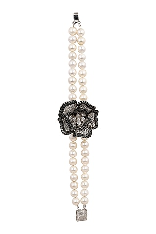White & Black Rhodium Finish Bracelet by Tsara
