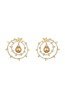 White & Gold Finish Pearl Earrings by Tsara