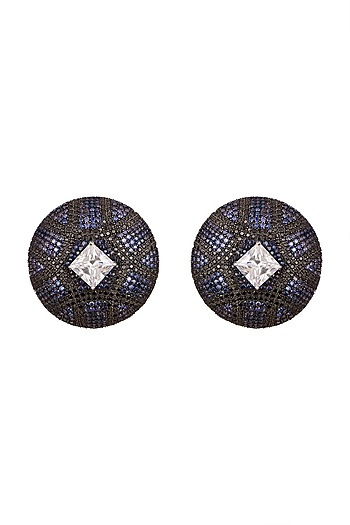 White, Black Rhodium, & Gold Finish Earrings by Tsara