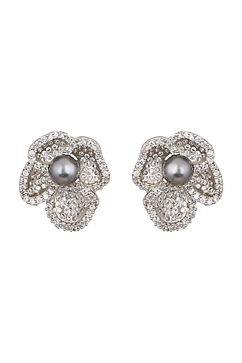 White Finish Cubic Zirconia & Pearl Earrings by Tsara