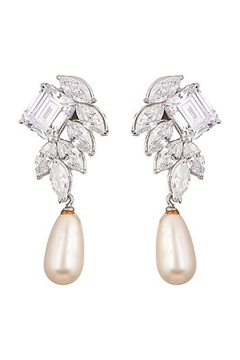 White Finish Cubic Zirconia & Shell Pearl Earrings by Tsara