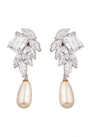 White Finish Cubic Zirconia & Shell Pearl Earrings by Tsara