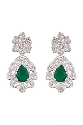 White Finish Emerald Earrings by Tsara