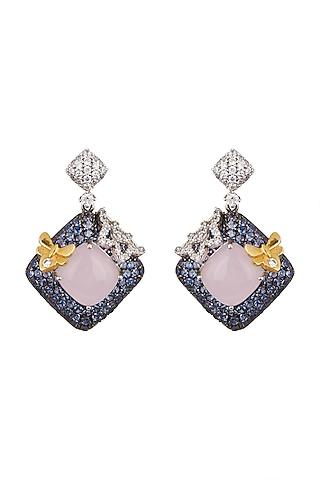 White, Black Rhodium, & Gold Finish Rose Quartz Earrings by Tsara