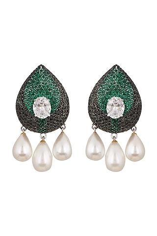 White & Black Rhodium Finish Swarovski Earrings by Tsara