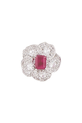 White Finish Ruby Floral Ring by Tsara