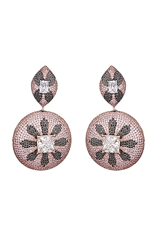 White, Black Rhodium, & Rose Gold Finish Earrings by Tsara