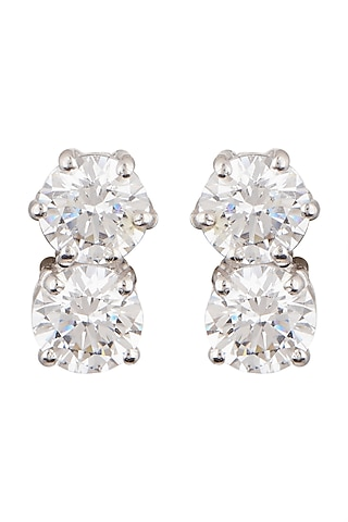 White Finish Cubic Zirconia Stud Earrings by Tsara