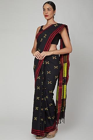 Black Silk Cotton Saree Set With Naga Motifs by The Silk Chamber