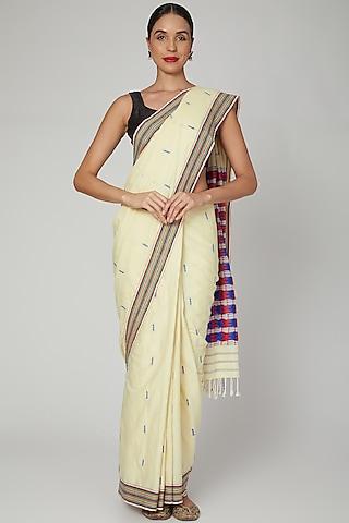 Beige Silk Cotton Saree Set With Mizo Motifs by The Silk Chamber