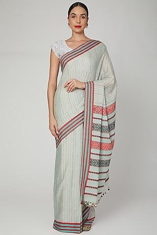 Sage Green Silk Cotton Saree Set With Motifs of Meghalaya by The Silk Chamber