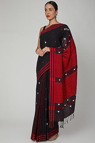 Black Saree Set With Naga Motifs by The Silk Chamber