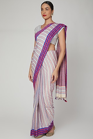 Blue & Red Striped Silk Cotton Saree Set With Motifs of Meghalaya by The Silk Chamber